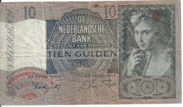 PAYS-BAS 10 GULDEN 1942 VG+ P 56 B - [2] 1815-… : Kingdom Of The Netherlands