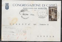 STORIA POSTALE REGNO - ORAZIO CENT 30 ISOLATO SU CARTOLINA DA SAVIGNANO SUL RUBICONE - 5.8.36 PER MESOLA - Marcophilia
