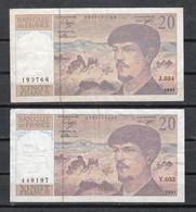 2 BILLETES DE FRANCIA DE 20 FRANCOS - CLAUDE DEBUSSY - 1962-1997 ''Francs''