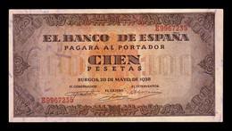 España Spain 100 Pesetas Burgos 1938 Pick 113 Serie E SC UNC - [ 3] 1936-1975: Regime Van Franco