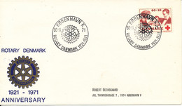 Denmark Cover With RED CROSS Stamp ROTARY DENMARK 50th. Anniversary 30-11-1971 - Rotary, Club Leones