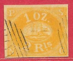 Pérou N°2d (Compagnie De L'océan Pacifique) 2R Jaune 1857 (faux/forgery) O - Peru