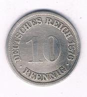 10 PFENNIG  1876  A   DUITSLAND /7440/ - [ 2] 1871-1918: Deutsches Kaiserreich