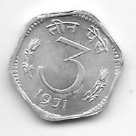 *india  3 Paisa 1971 C Km 14.2   Xf - India