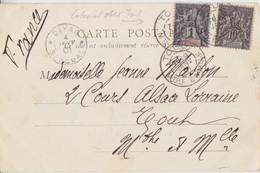 CP (St Louis) Obl Dakar Le 4 Janv 01 Et Toul Le 9 Janv 01 Sur 1c Et 10c Sage Sénégal Et Dépendances Pour Toul - Sénégal (1887-1944)