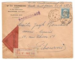 LETTRE RECOMMANDÉ CONTRE REMBOURSEMENT MULHOUSE 23/8/1928  POUR LIBOURNE - PASTEUR 181 - 2 Scans - - 1921-1960: Période Moderne