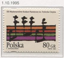 Poland 1995 Mi 3560, International Chopin Piano Competition, Music, Notes MNH** - Music