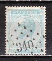 18 Ou 18A  Leopold Ier - Oblit. LP340 SPA - LOOK!!!! - 1865-1866 Profile Left