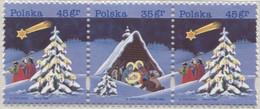 Poland 1995 Mi 3565-6, Christmas Celebration, Christmas Tree, Winter, Snow, Biblical Magi, Nativity Scene, Star MNH** - Christmas