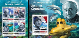 Sierra Leone 2020, Cousteau, Submarine, 4val In BF+BF - Tauchen
