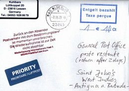 ! 7.8.2020 Germany Cover, Antigua Und Barbuda Islands, Interruption Postal Service COVID-19, Antwortschein, Reply Coupon - Antigua And Barbuda (1981-...)
