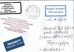 ! 7.8.2020 Germany Cover, Honduras, Interruption Postal Service Corona COVID-19, Antwortschein, Reply Coupon - Honduras