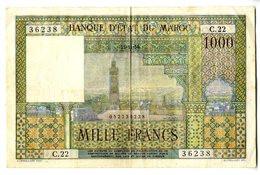 BANQUE D ETAT DU MAROC  MILLE FRANCS  1956  C22 36238  -  Vendu Dans L Etat - Marruecos