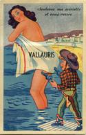 VALLAURIS - CARTE A SYSTEME 10 VUES - PLAGE - JEUX ENFANT COWBOY - Mechanical