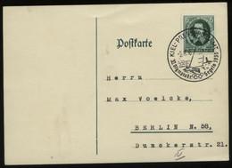 S0295 DR Postkarte: Guericke Briefmarke Gebraucht Mit Sonderstempel Olympiade Pressepostamt Kiel Segeln 1936 , Stempel - Duitsland