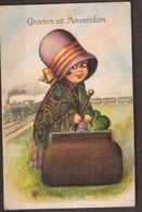 Amsterdam - Meisje Met 10 Stadsgezichten In Haar Koffertje - Amsterdam