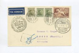 1934 URUGUAY ZEPPELIN LZ 127 7. SÜDAMERIKAFAHRT  RÜCKFAHRT POSTKARTE  SIEGER 272 C - Uruguay