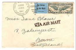 USA LETTRE VIA AIR MAIL NEW YORK BRONX FORDHAM 22/8/1941 → BERNE SWITZERLAND SUISSE - 2 Scans - - Lettres & Documents