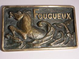 Presse Papier En Bronze - FOUGUEUX - Cheval Sirene Dans Les Flots - Bronces