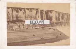 76 - LE TREPORT - La Plage,hôtel Des Falaises -Photo Originale Format Cabinet 1880 Photographe E.HAGLON Tréport - Fotos