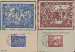 941-942 Leipziger Frühjahrsmesse Auf 2 Messekarten SSt LEIPZIG MM-Symbol 3.3.48 - Stamps