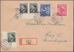 Böhmen Und Mähren: 129+130 Richard Wagner Mit Zusatzfr. Orts-R-FDC PRAG 22.5.43 - Besetzungen 1938-45