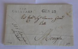 Italie Apennins 1823 – Marque Noire 110 CHIAVARI – CANONICO GERMO BOLLO Moneglia – DEVISI Chiavari - 1. ...-1850 Prefilatelia