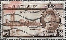 CEYLON 1946 Victory - 15c - Brown FU - Ceylon (...-1947)