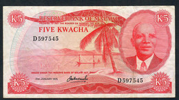 MALAWI P11b 5  KWACHA  31.1.1975  VERY VERY RARE DATE ! !  Prefix #D  AVF     FOLDS NO P.h.    NO P.h. ! - Malawi