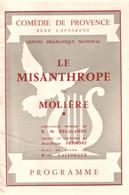 13 Aix Programme  Misanthrope Comédie De Provence 1958 - Autografi