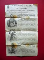 Foglio Volante Regio Esercito Italiano Istruzione Uso Maschera Anti Gas WW1 Raro - Zonder Classificatie