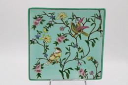 676 - Vide Poche Céramique - Décor Oiseaux/fleurs Fond Céladon - Rectangle Verte Au Dos - Autres