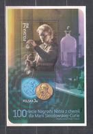 POLAND 2011 - 100th ANNIVERSARY Of NOBEL AWARD For MARIA SKLODOWSKA-CURIE MS MNH - Blocks & Sheetlets & Panes