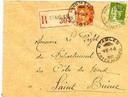 COTES Du NORD : Etables Sur Mer. Lettre Recommandée. 1937 - 1921-1960: Modern Period