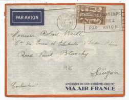 N° 302 SEUL LETTRE AVION MEXC PARIS RP AVION 19.IX.1936 POUR SAIGON TARIF - Marcophilie (Lettres)