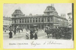 * Brussel - Bruxelles - Brussels * Gare Du Nord, Noordstation, Railway Station, Bahnhof, Animée, Cheval, Rare - Bruxelles-ville