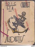 Fixe Rare Carnet De Silhouettes Avion Hydravion 1° DIC FTA Infanterie Coloniale Forces Territoriales Antiaériennes DCA ? - 1939-45