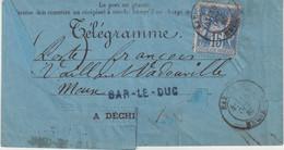 """FRANCE : TELEGRAMME . 15 C . TYPE SAGE . D' ALGER POUR """" BAR LE DUC """" . 1886 . - 1877-1920: Periodo Semi Moderno"""