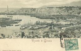 "9221 "" RICORDO DI GENOVA "" PANORAMA-PORTO- CART. POST. ORIG. SPED.1902 - Genova (Genoa)"