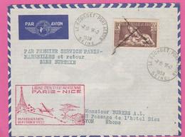 N°356 (YT) Seul Sur Lettre, Annulation Par La Poste - Lettre Le Bourget-Lyon Par Avion 1938 - France