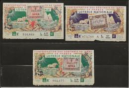 LOT DE 3 BILLETS DE LOTERIE NATIONALE DE 1942  - - Loterijbiljetten