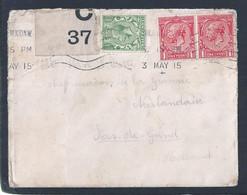 Perfin. Rare Letter Censored With Profile (SAH) Circulated London To Holland 1915. Brief Gecensureerd Met Profiel. 1ºWW - Prima Guerra Mondiale