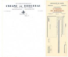 4 Documents / Factures / Enveloppe : Etablissements Cyrano De Bergerac , Salon De Provence, Spécialités De Cafés - 1900 – 1949