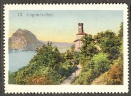 """Schweiz Suisse Lugano ~1908 """" Luganer See """" Vignette Cinderella Reklamemarke - Erinnofilia"""