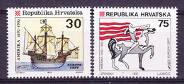 Europa Cept 1992  Croatia 2v Without Logo ** Mnh (50066) - Europa-CEPT