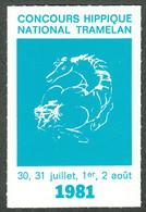 """Schweiz Suisse Bern Tramelan 1981 """" Concours Hippique National """" Vignette Cinderella Reklamemarke - Erinnofilia"""