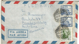 MADRID CC A ALEMANIA CORREO AEREO 1950 SELLOS FRANCO - 1931-50 Lettres