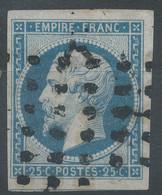 Lot N°58466  N°15a Bleu Laiteux, Oblit Roulette De Gros Points Carrés, Belles Marges Avec Voisin, Coté + De 310 Euros - 1853-1860 Napoleone III