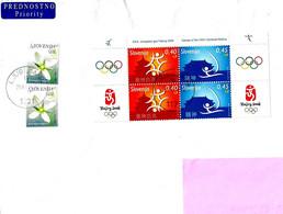 SLOVENIA - 2016 Lettera Prioritaria Per Estero Con 2008 Olimpiadi Pechino Blocco Di 4 + Altri 2 Franc. (fiori) - 4591 - Slovenia