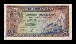 España Spain 5 Pesetas 1940 Pick 123 Serie E SC UNC - [ 3] 1936-1975: Regime Van Franco